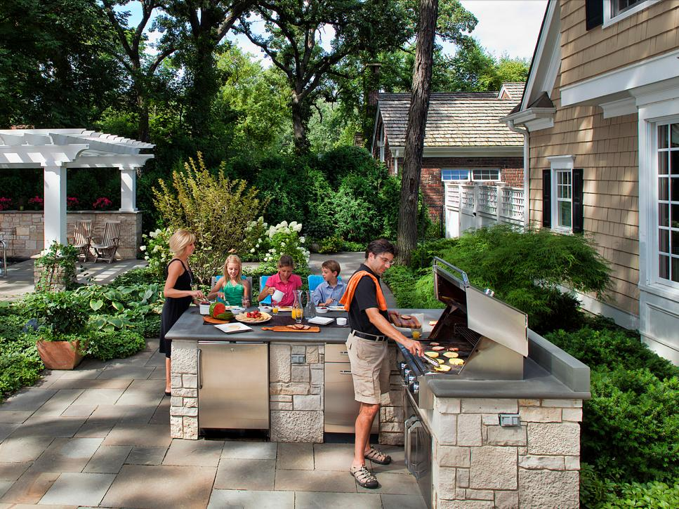 A Backyard Grill with Beautiful Surrounding
