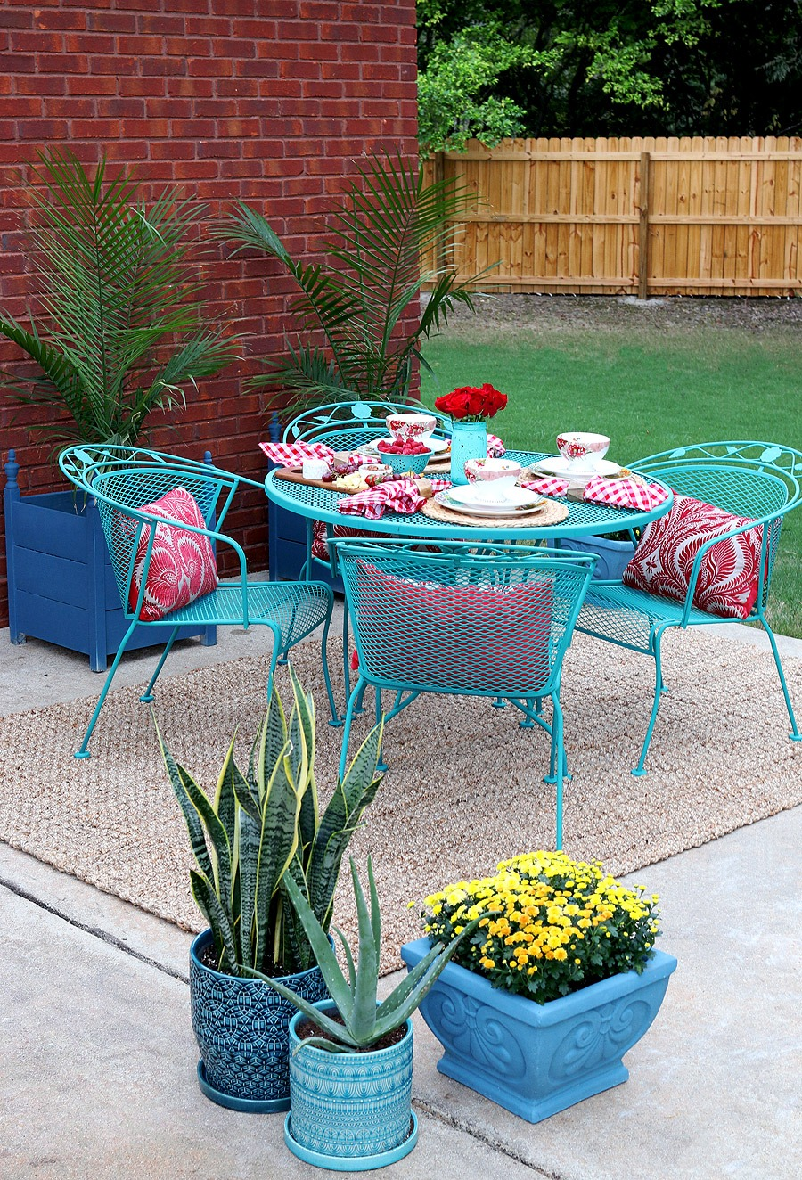 Blue-Painted Metal Patio Furniture