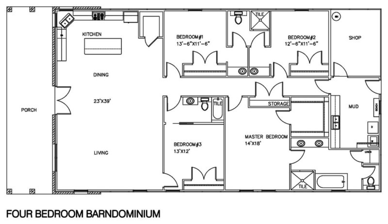 Space-Effective Four Bedroom Barndominium